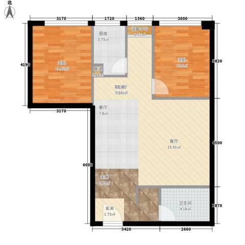 印象新城2室1厅1卫1厨94.00㎡户型图