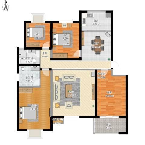 万达高尔夫花园3室1厅2卫1厨144.00㎡户型图