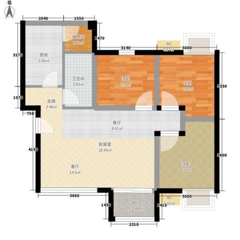 滨江绿园3室0厅1卫1厨81.00㎡户型图