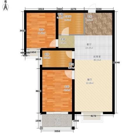 书香锦里2室0厅1卫1厨92.00㎡户型图