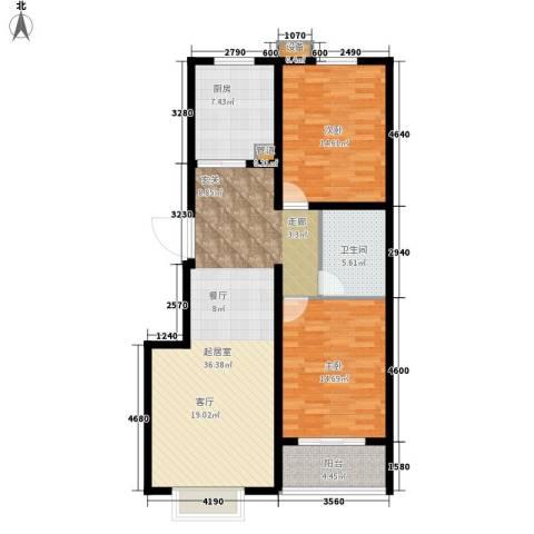 书香锦里2室0厅1卫1厨95.00㎡户型图