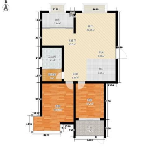 翡翠明珠2室1厅1卫1厨106.00㎡户型图