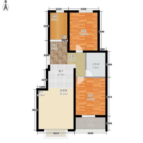 书香锦里2室0厅1卫1厨91.00㎡户型图
