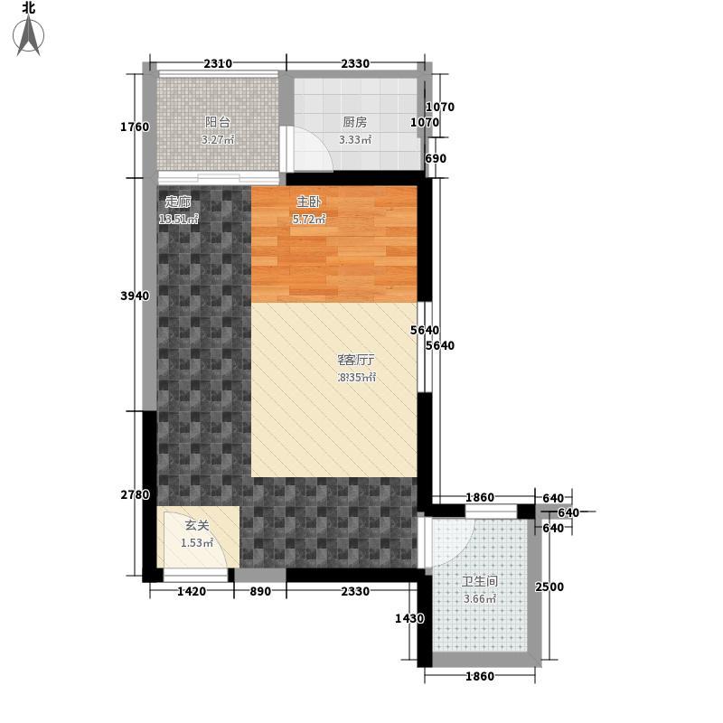 亚星盛世44.05㎡1A-2户型1室1厅