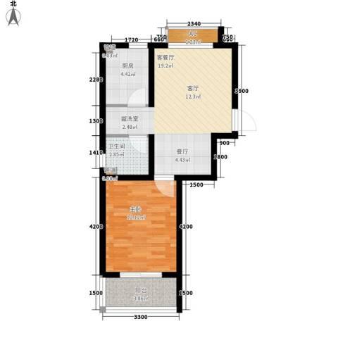 避暑花园三期1室1厅1卫1厨64.00㎡户型图
