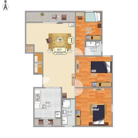 绿地蔷薇九里别墅3室1厅2卫1厨111.00㎡户型图
