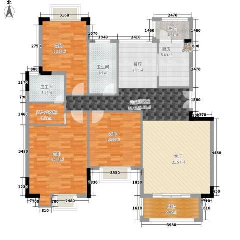 百盈花园3室0厅2卫1厨125.00㎡户型图