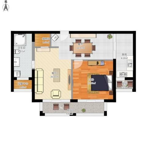 路劲天御1室1厅1卫1厨90.00㎡户型图