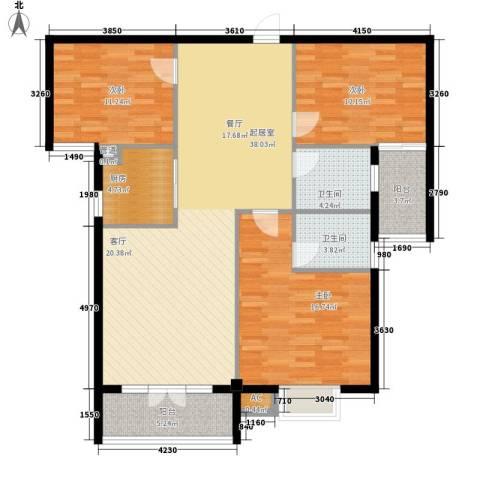 金色华府3室0厅2卫1厨124.00㎡户型图