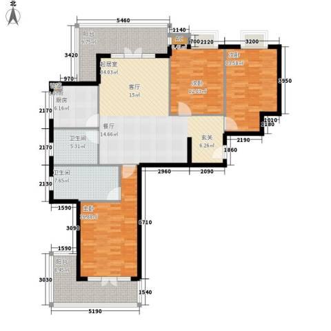 金色华府3室0厅2卫1厨136.00㎡户型图