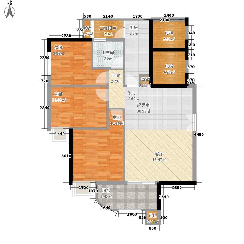 翠城花园104.51㎡15栋8-33层033面积10451m户型