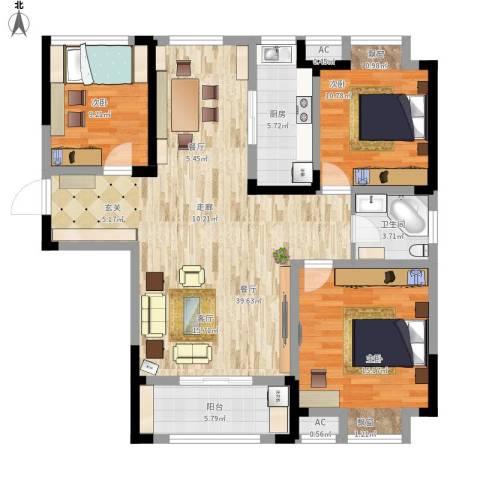 金尧首府3室1厅1卫1厨131.00㎡户型图