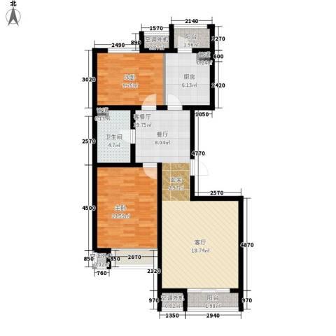 金第梦想山2室1厅1卫1厨85.00㎡户型图