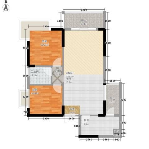 京仕柏豪庭公寓2室1厅1卫1厨98.00㎡户型图