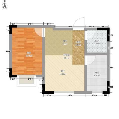 绿茵港湾1室0厅1卫1厨50.00㎡户型图