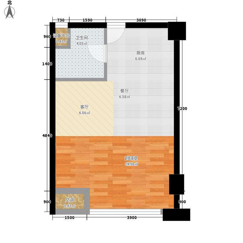 怡景.聚贤庭61.20㎡E4单身公寓 一室一厅 61.20㎡户型1室1厅