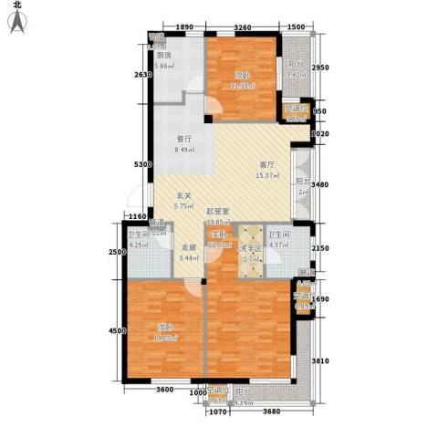 香水湾3室0厅2卫1厨128.00㎡户型图