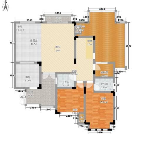 隆鑫花漾湖2室0厅2卫1厨164.00㎡户型图