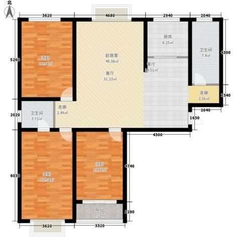 香格里拉花园3室0厅2卫1厨169.00㎡户型图