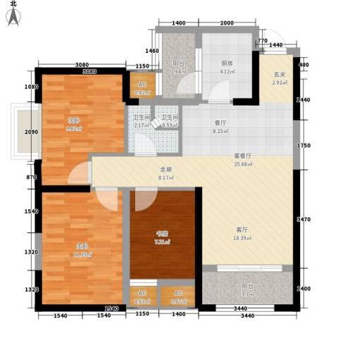 华城万象3室1厅2卫1厨93.00㎡户型图