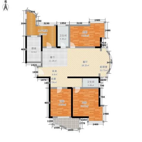 桃园得润居3室0厅2卫1厨158.00㎡户型图