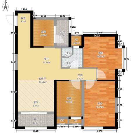 华城万象3室1厅2卫1厨96.00㎡户型图