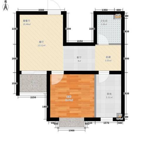 避暑花园三期1室1厅1卫1厨60.00㎡户型图
