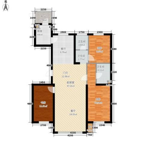 卓远・聚基华脉3室0厅2卫1厨140.00㎡户型图