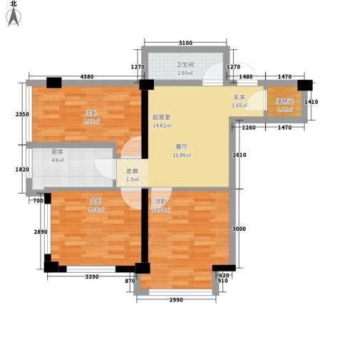 万通东城左岸3室0厅1卫1厨78.00㎡户型图