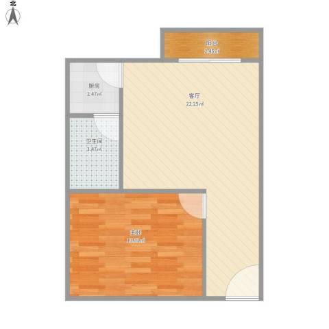 大唐时代公寓1室1厅1卫1厨47.57㎡户型图