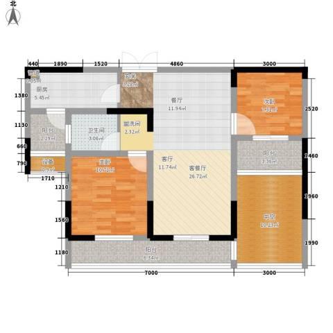 建业凯旋广场2室1厅1卫1厨89.00㎡户型图