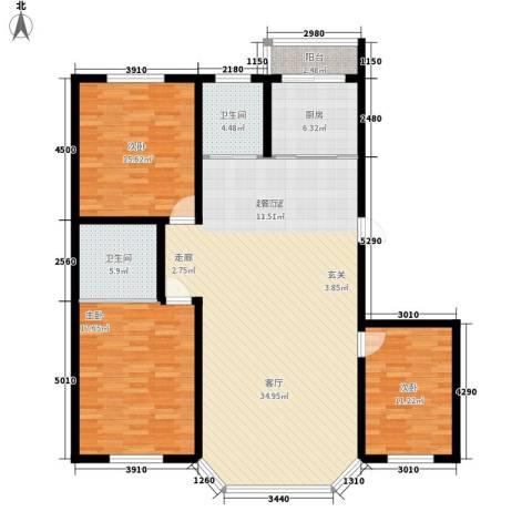 钻石礼都一期3室0厅2卫1厨116.72㎡户型图