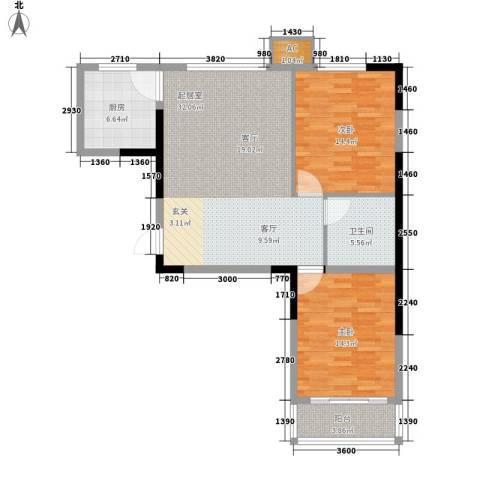 绿茵港湾2室0厅1卫1厨87.00㎡户型图
