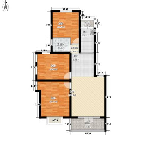 金色华府3室0厅1卫1厨98.00㎡户型图