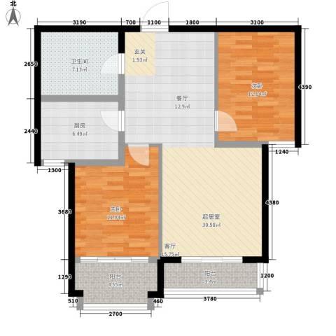 信泰金域仕家2室0厅1卫1厨109.00㎡户型图
