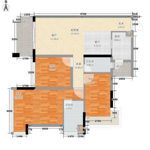 增城雅居乐御宾府3室0厅2卫1厨113.00㎡户型图