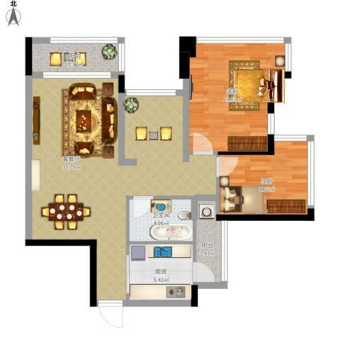 雅居乐曼克顿山2室1厅1卫1厨106.00㎡户型图