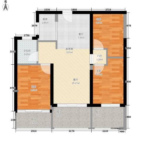 宏图高龙湾1号3室0厅1卫1厨76.00㎡户型图