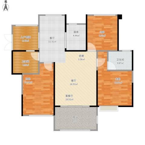 嘉福尚江尊品3室1厅2卫1厨122.00㎡户型图
