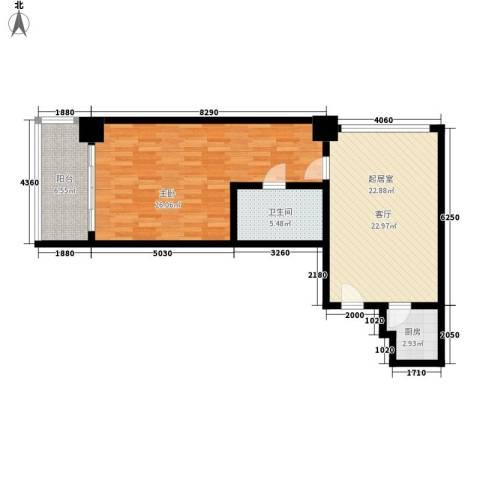 三亚国际公寓1室0厅1卫1厨75.00㎡户型图