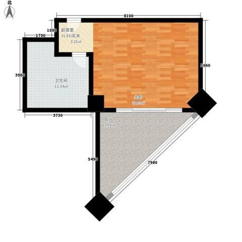 三亚国际公寓1卫0厨64.00㎡户型图