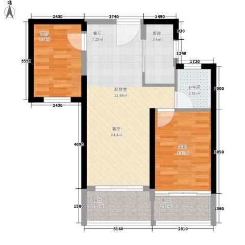 宏图高龙湾1号2室0厅1卫1厨76.00㎡户型图
