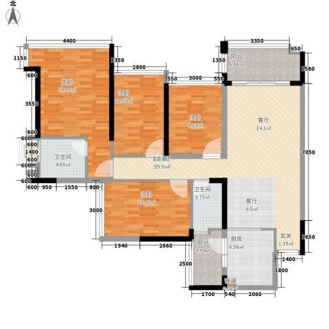 增城雅居乐御宾府4室0厅2卫1厨133.00㎡户型图