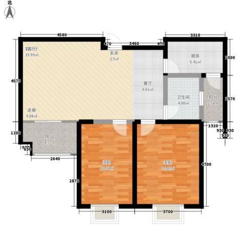 奥林・晴园2室1厅1卫1厨87.77㎡户型图