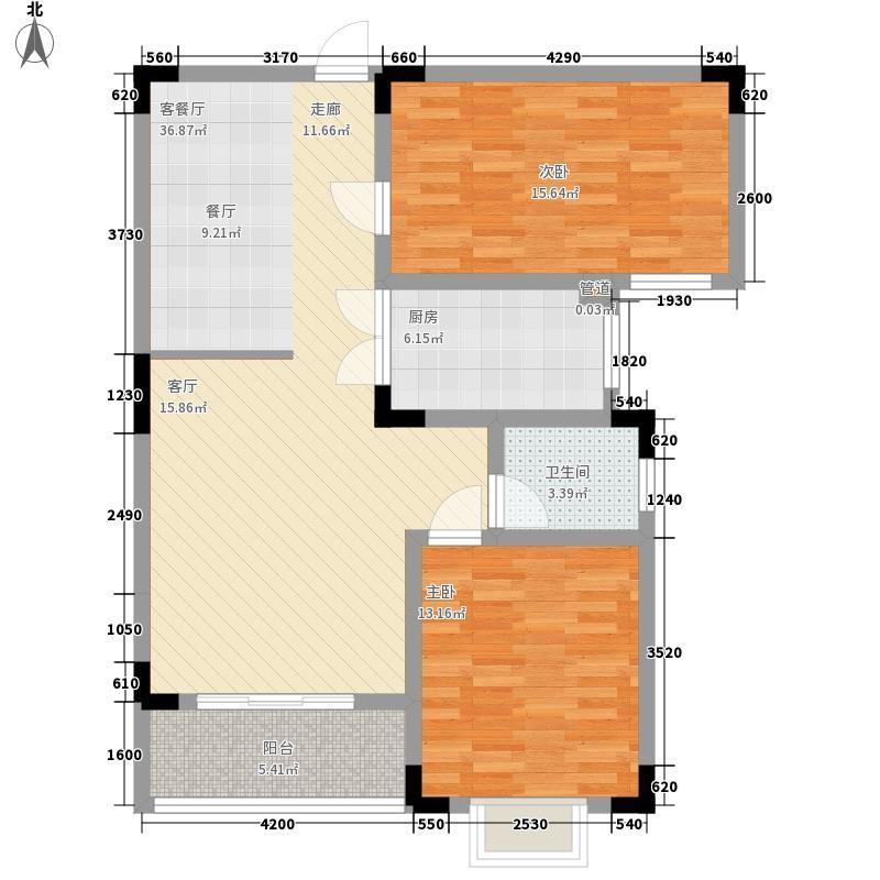 达瑞华府92.25㎡D户型2室2厅1卫