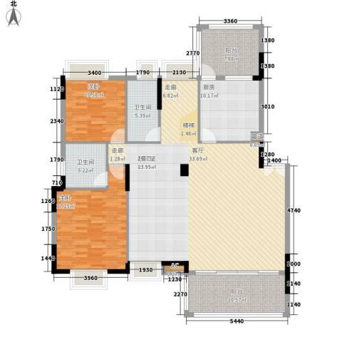 中核・缇香名苑2室0厅2卫1厨178.00㎡户型图