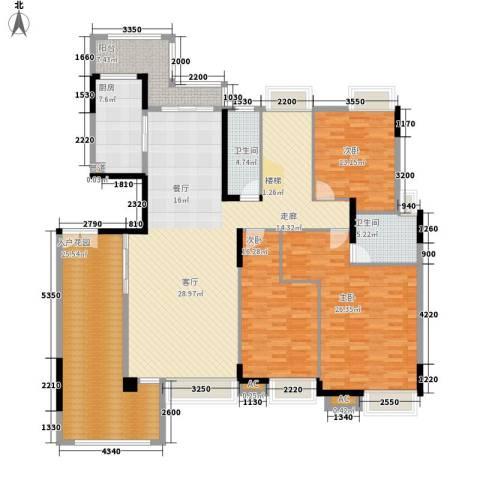 中核・缇香名苑3室0厅2卫1厨152.00㎡户型图