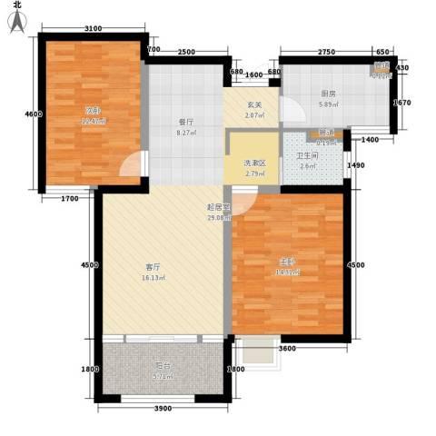 黄河龙城・半岛御境2室0厅1卫1厨101.00㎡户型图