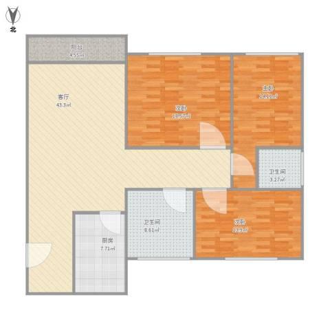 白鹭花园3室1厅2卫1厨122.00㎡户型图