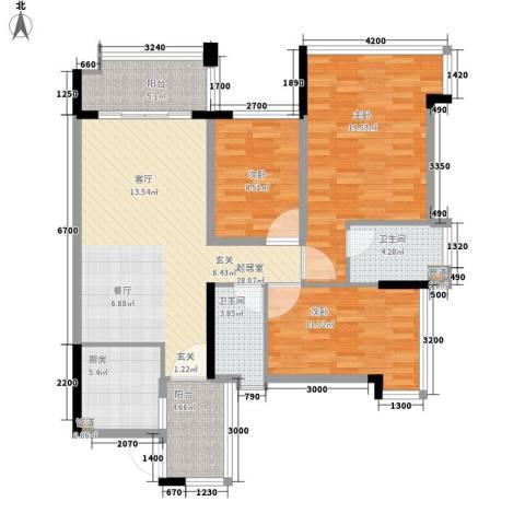 增城雅居乐御宾府3室0厅2卫1厨105.00㎡户型图